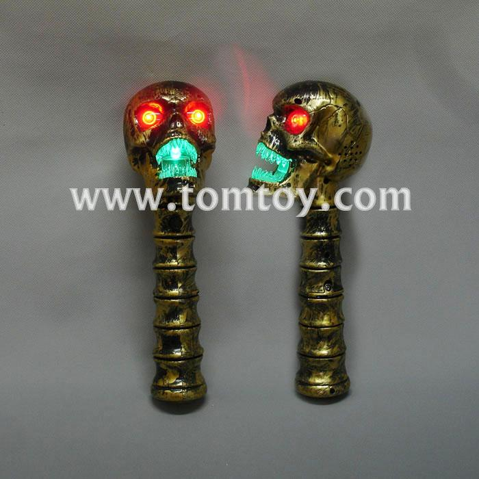 bronze led flashing skull head wand with sound tm02614.jpg