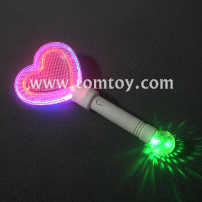 Colorful heart shape led light up wand tomtoy for Light up wand