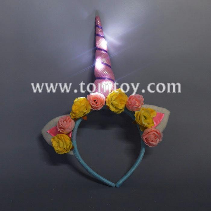 flashing rose flower unicorn headband tm03251.jpg