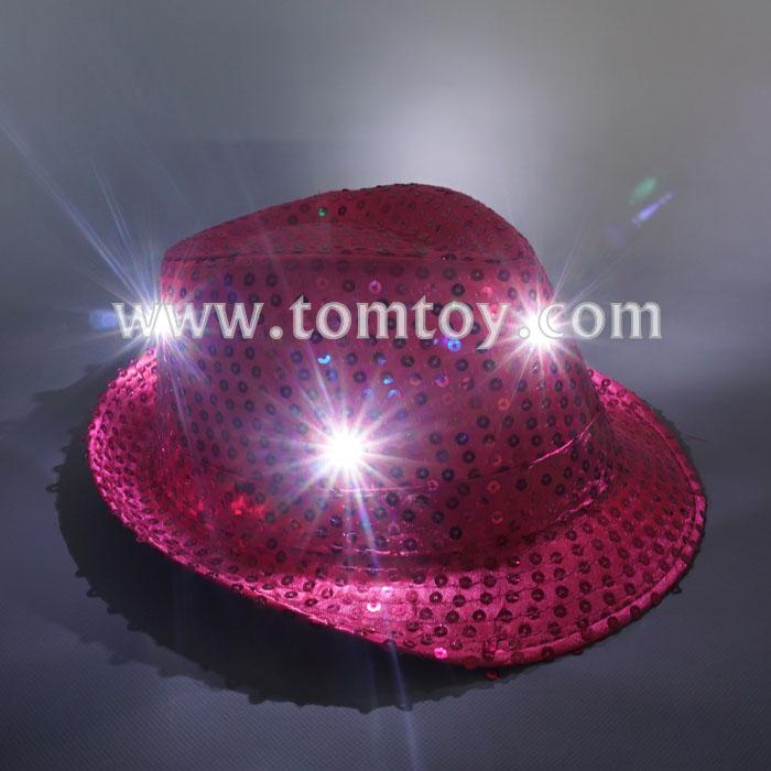 led flashing sequin fedora hat tm03144-pk.jpg