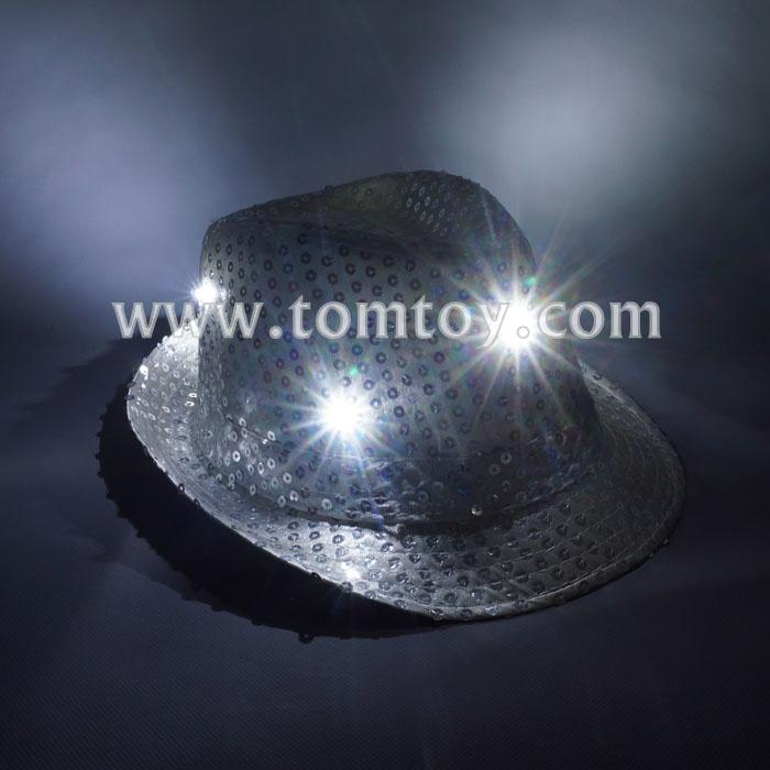 led flashing sequin fedora hats tm03144-sr.jpg