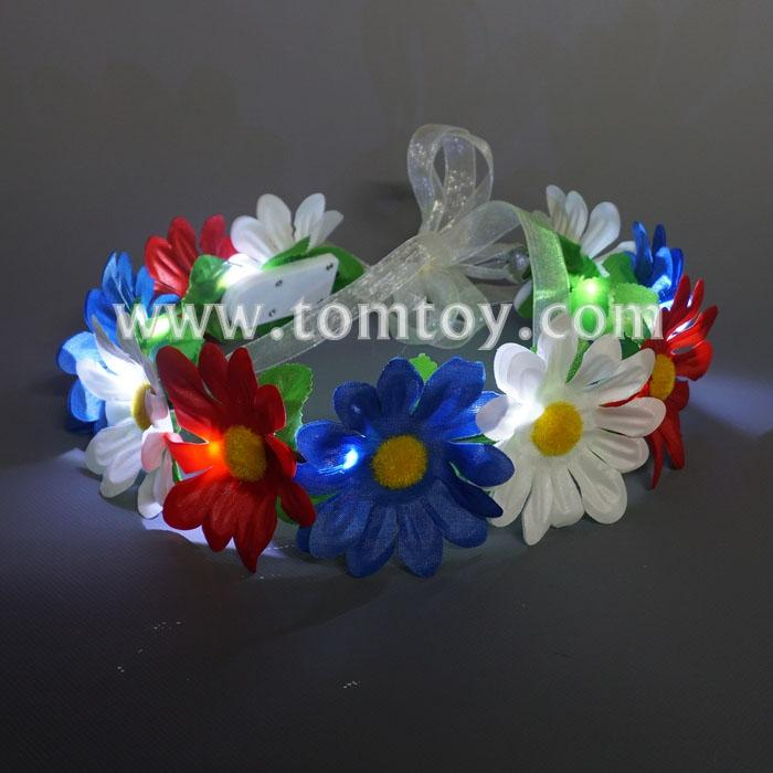 led flower wreath headband tm03086-rwb.jpg