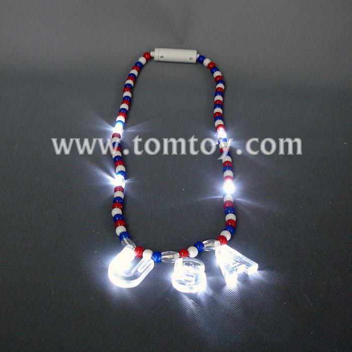 led usa red-white-blue bead necklace tm041-017.jpg