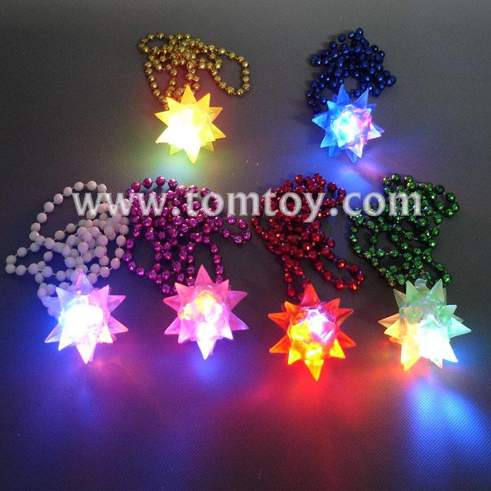 light up crystal spiky star with mardi gras bead necklaces tm035-007.jpg