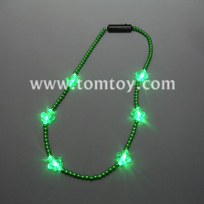 light up fleur de lis mardi gras beads necklace tm00714-gn.jpg