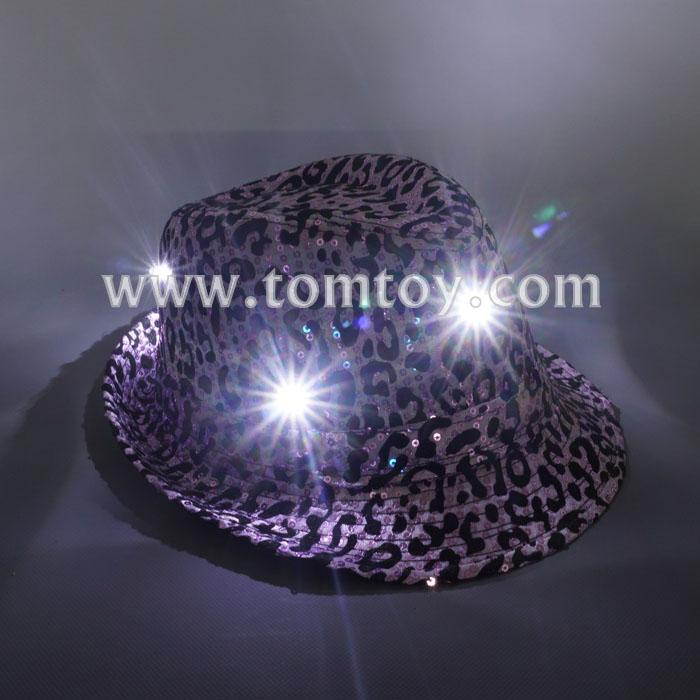 light up leopard fedora hat tm03152-pk.jpg