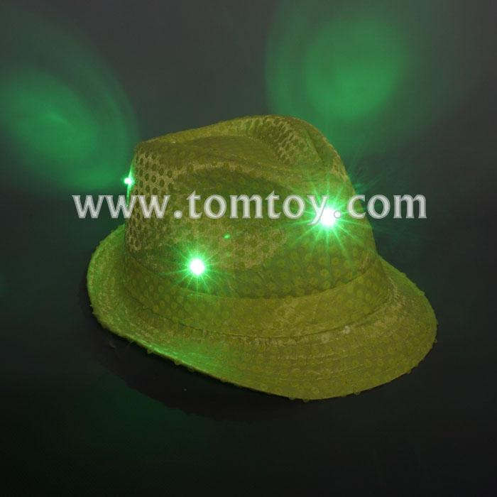 neon green light up sequin fedora hat tm03144-ng.jpg