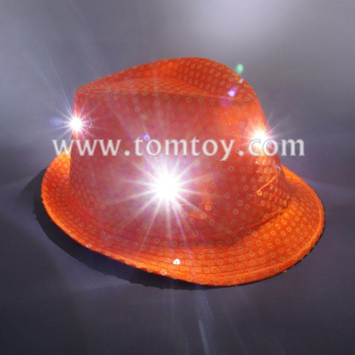 neon orange led sequin fedora hat tm03144-no.jpg