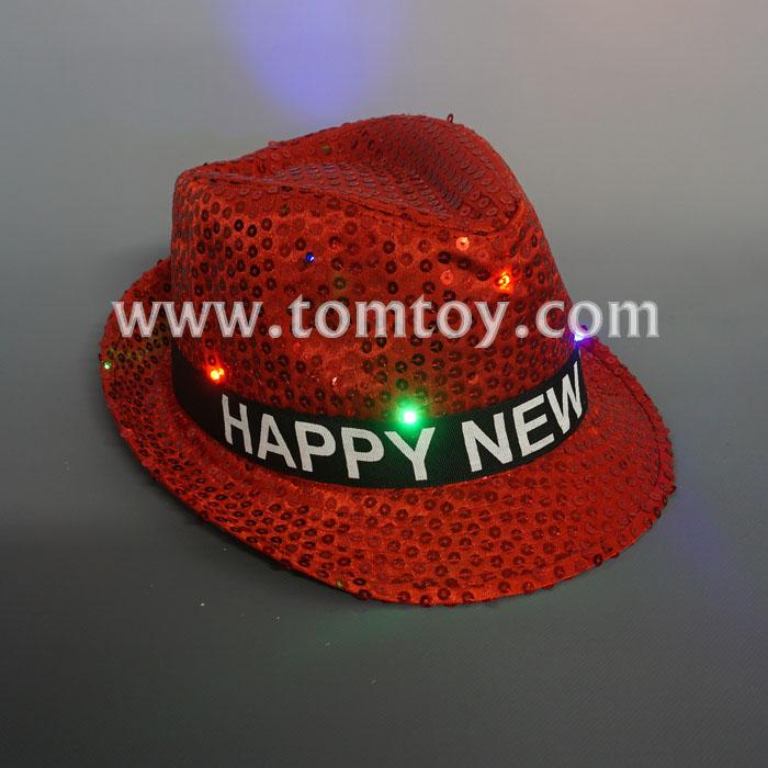 new year light up sequin fedora hat tm03150-rd.jpg