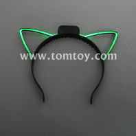 fiber optic light up cat ears headband tm03002-gn