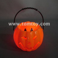 flashing led halloween pumpkin candy pails with sound tm02027