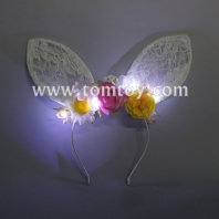 led bunny ears headband with flowers tm03196