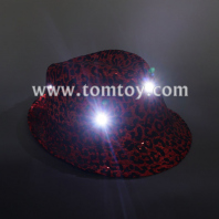 led flashing fedora leopard hat tm03152-rd