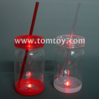 led flashing mason jar drink cup with straw tm02269