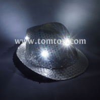 led flashing sequin fedora hats tm03144-sr