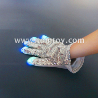 led flashing silver sequin glove, double sided tm00514