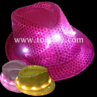 led light up sequin fedora hat tm-049