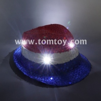 led sequin fedora hat red-white-blue tm03144-rwb