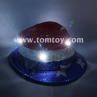 led usa star sequin fedora hat tm03144-star