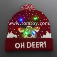 light up deer knitted hat for christmas tm06908