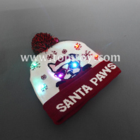 light up santa paws knitted hat tm06919