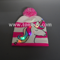 light up unicorn knitted beanie hat tm05543