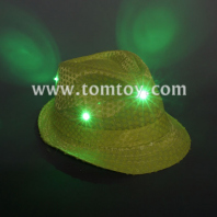 neon green light up sequin fedora hat tm03144-ng