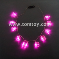 pink led light up kiss me necklace tm00713