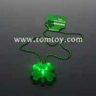 st.patrick's day light up clover led bead necklaces tm03088