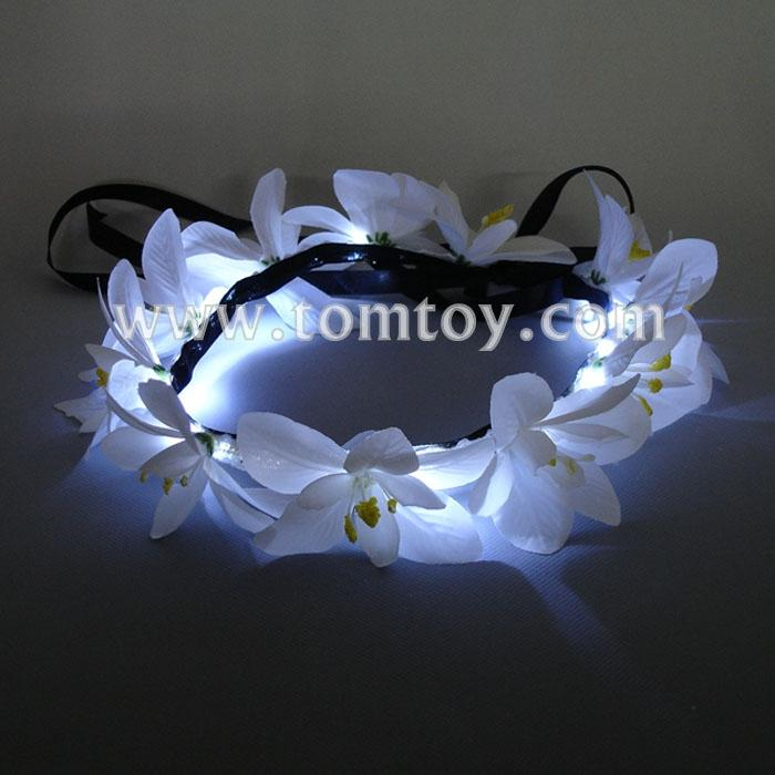 white lily flower crown with adjustable ribbon for wedding festivals tm03010.jpg