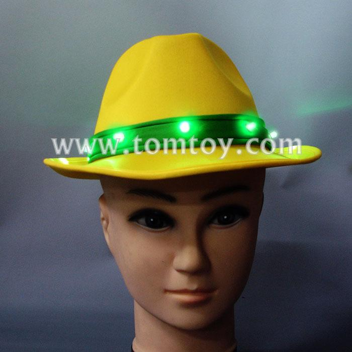 yellow led light up fedora hat for jazz tm02174.jpg